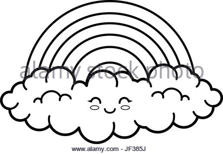 450x310 Kawaii Clouds And Rainbow Icon Stock Vector Art Amp Illustration