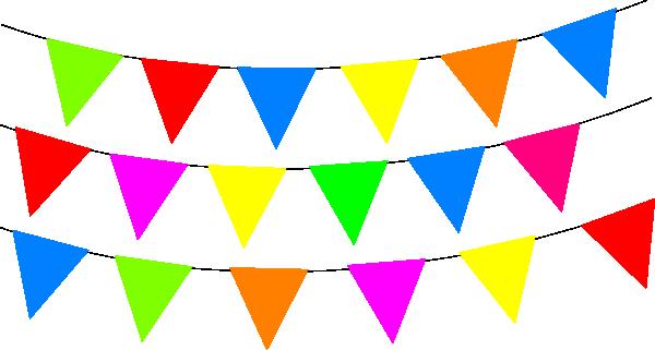 600x321 Bright Rainbow Bunting Clip Art