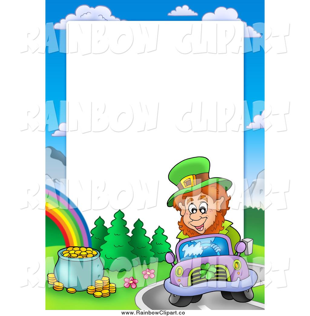 1024x1044 Vector Clip Art Of A Leprechaun Driving A Car Border Around White