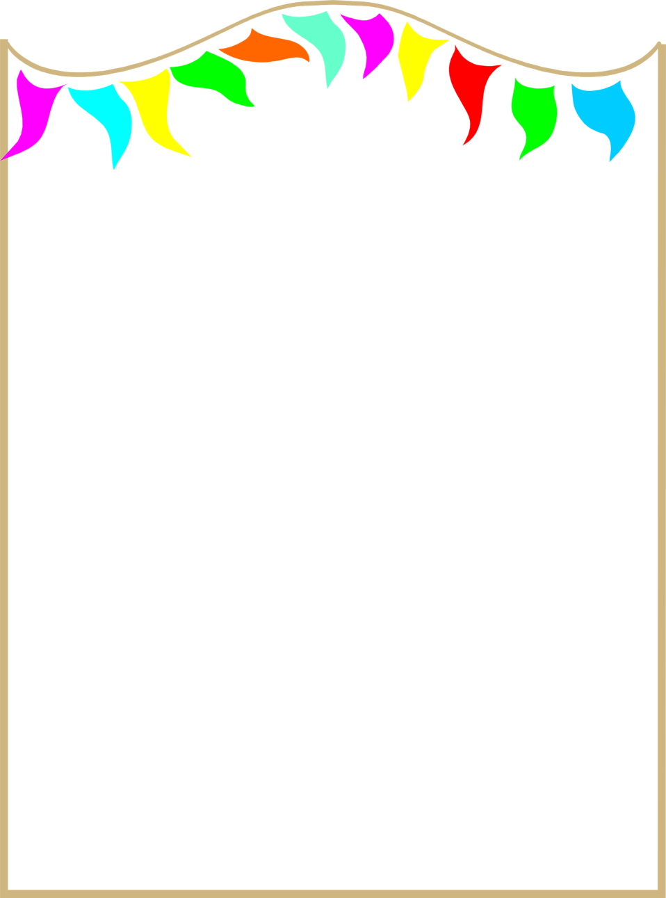 958x1292 Illustration Of A Blank Frame Border With Colorful Pennants Free