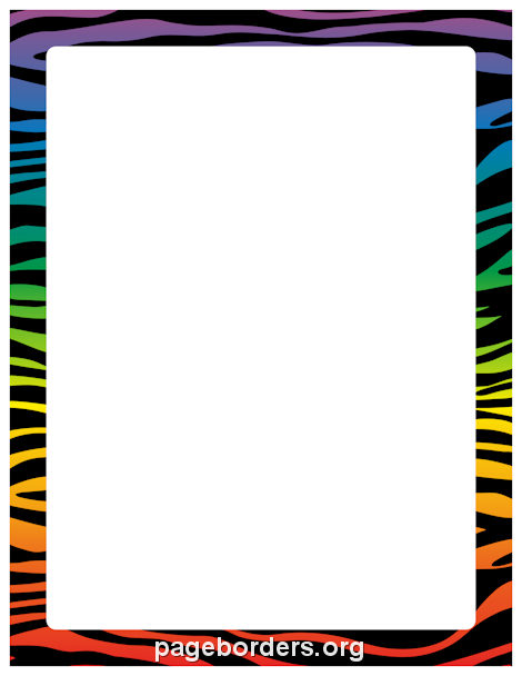 470x608 Printable Rainbow Zebra Print Border. Use The Border In Microsoft