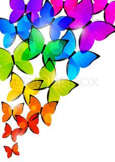 227x320 Rainbow Butterfly Clipart Border