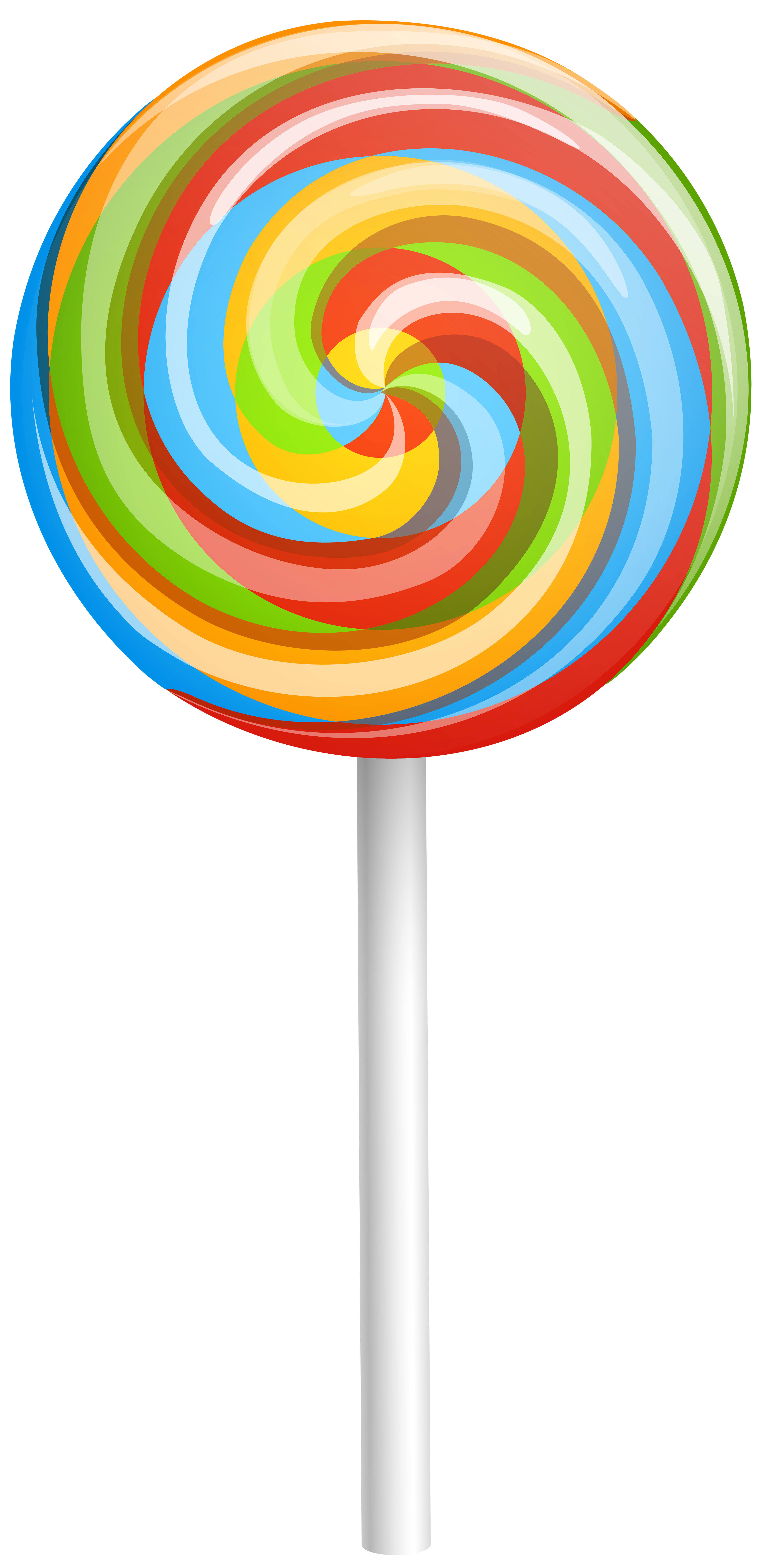 3919x8000 Rainbow Swirl Lollipop Clip Art Image