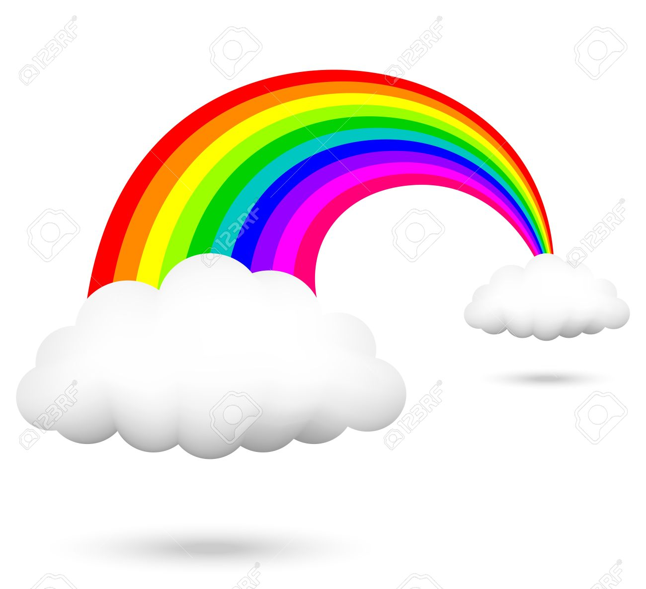 1300x1186 Vector Illustration Of Rainbow And Clouds Royalty Free Cliparts