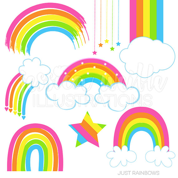 570x570 Just Rainbows Cute Digital Clipart Rainbow Clip art Rainbow