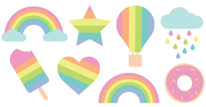 700x366 Pastel Rainbow Cut Files + Clip Art