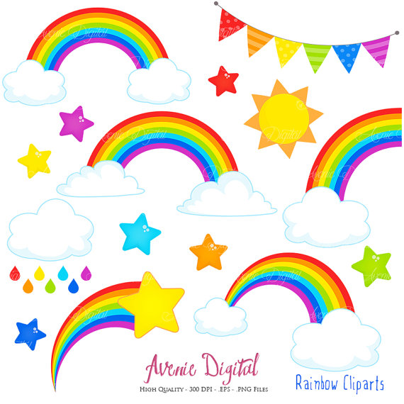570x570 Rainbows Clipart Scrapbook Printables, Vector Rainbow And Cloud