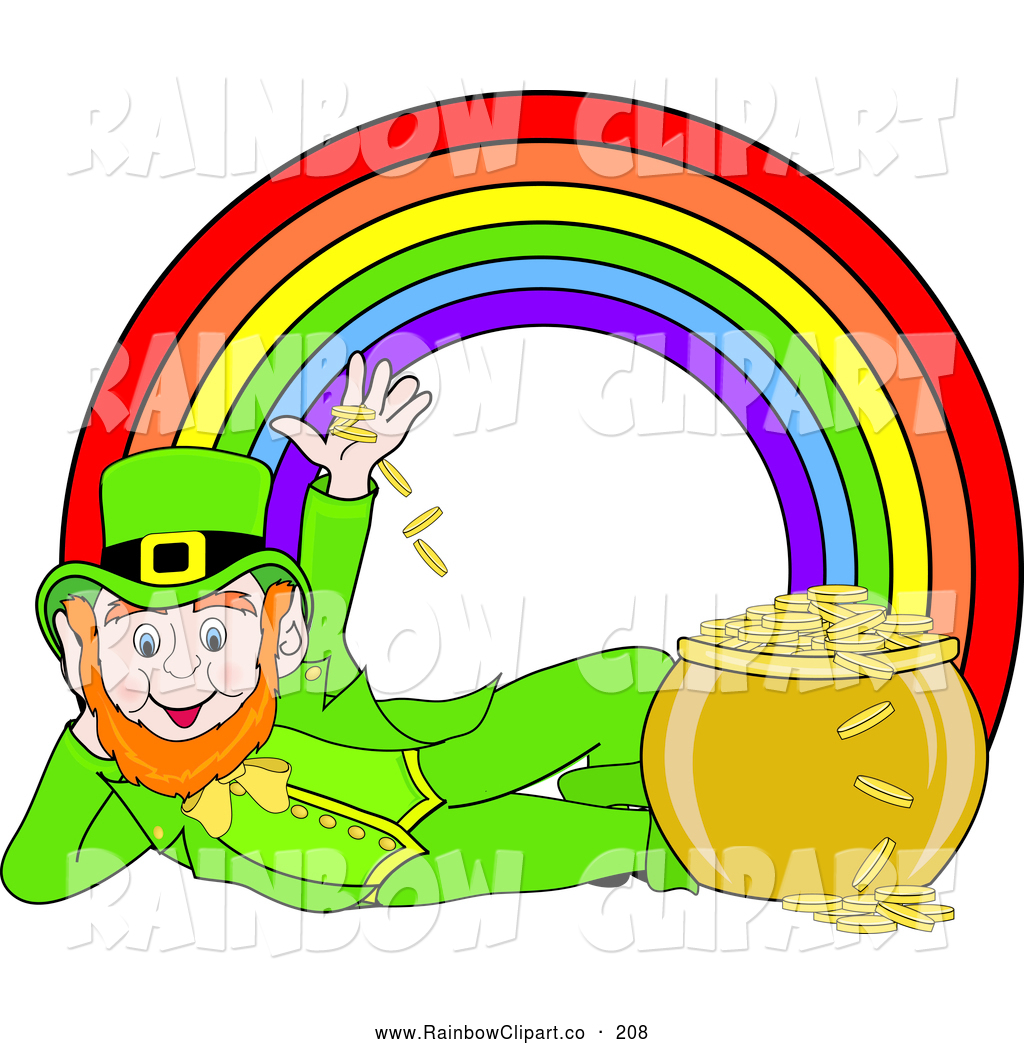 1024x1044 Vector Clip Art of a Happy Leprechaun Under a Rainbow by Pams