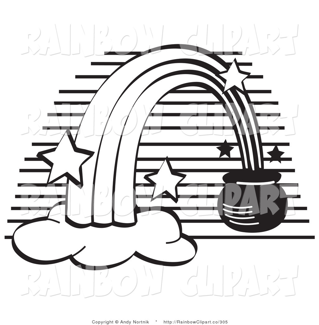 1024x1044 Vector Clip Art of a Black and White Pot of Gold