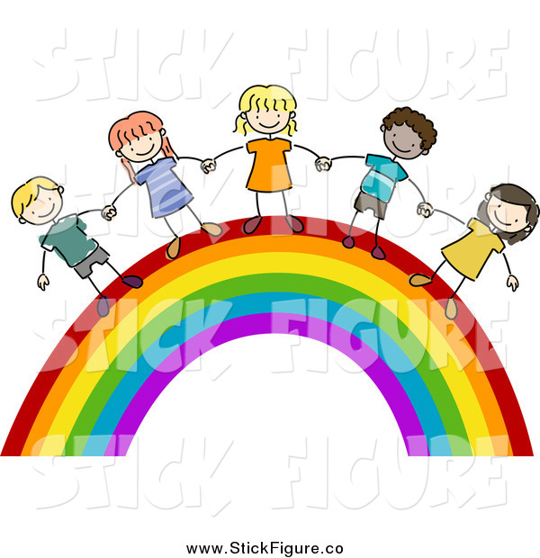 600x620 Clip Art Of Stick Kids Holding Hands On A Rainbow By Bnp Design