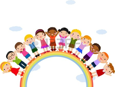 450x341 Illustration Of Kids Standing On Top Of A Rainbow Royalty Free