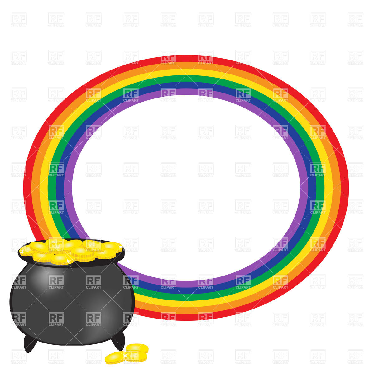 1200x1200 Cauldron Of Gold And Round Frame Made Of Rainbow Royalty Free