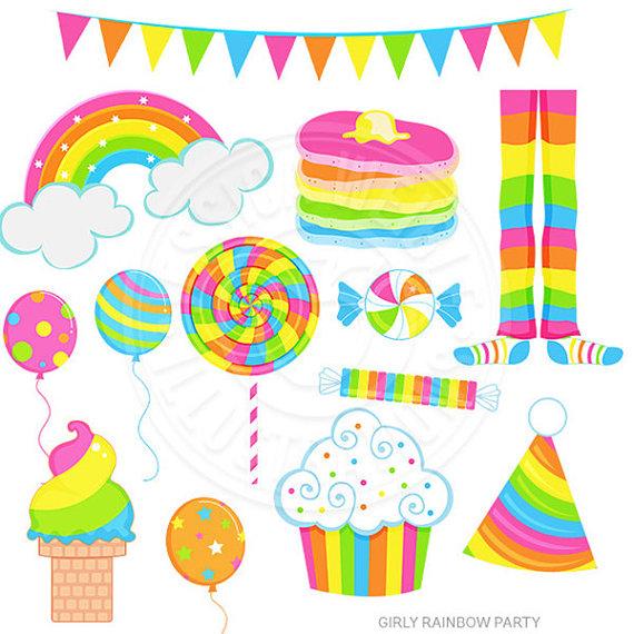 570x570 Girly Rainbow Party Cute Digital Clipart Rainbow Clip Art