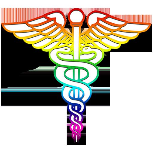 512x512 Caduceus Medical Logo Rainbow Clipart Image