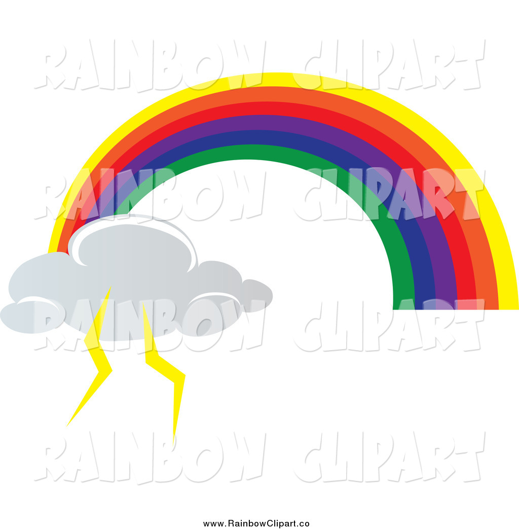 1024x1044 Vector Clip Art Of A Rainbow Arch Ending With A Lightning Cloud By