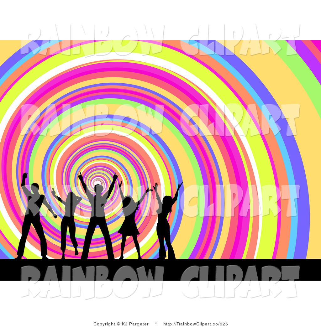 1024x1044 Clip Art Of A Spiraling Rainbow Design Background With Dancing Men