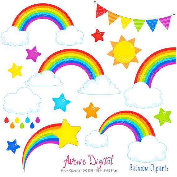 570x570 Rainbows Clipart Scrapbook Printables, Vector Rainbow And Cloud