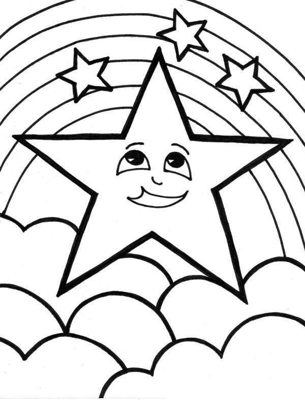 600x786 A Cute Start And The Rainbow Coloring Page