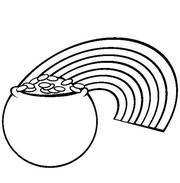 600x612 a pot of gold and a rainbow coloring page