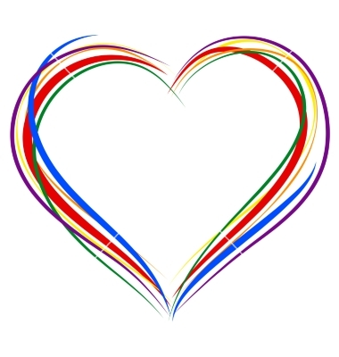 380x400 Heart Outline Lgbt Heart Symbol Sign Of Outline Rainbow Vector By