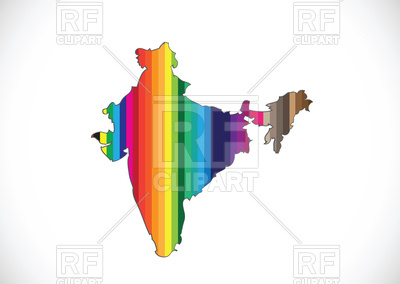 400x284 Map Of India Outline Filled With Motley Rainbow Pattern Royalty