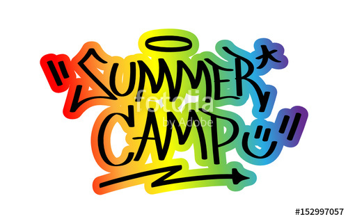 500x315 Summer Camp Graffiti Tag With Rainbow Outline Stock Image