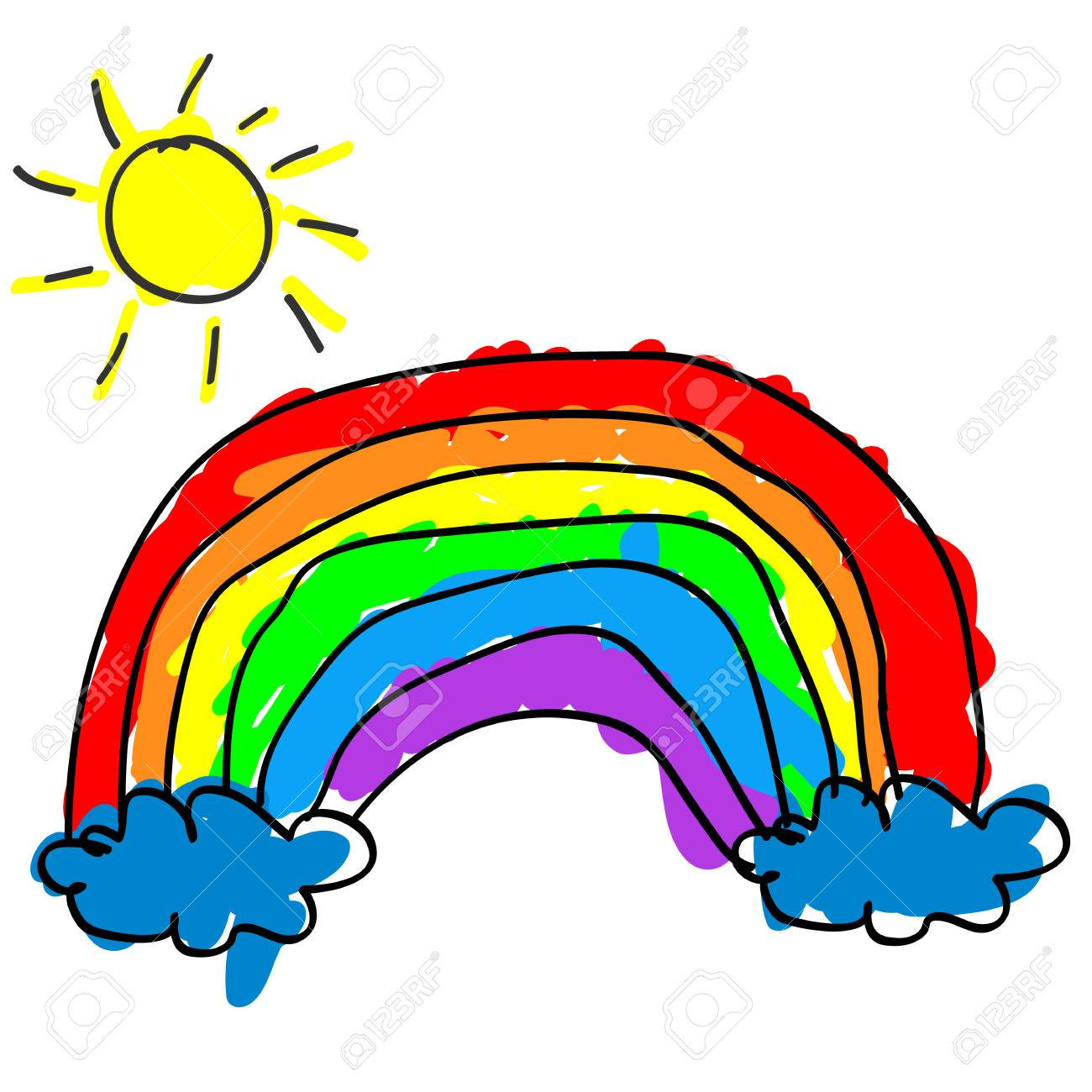 1300x1300 Childlike Cute Rainbow With Color Outside The Outline Like
