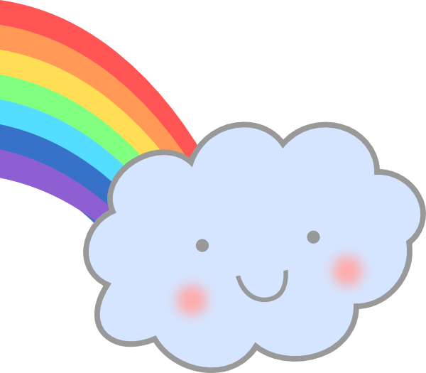 600x525 Cute Cloud With Rainbow Clip Art