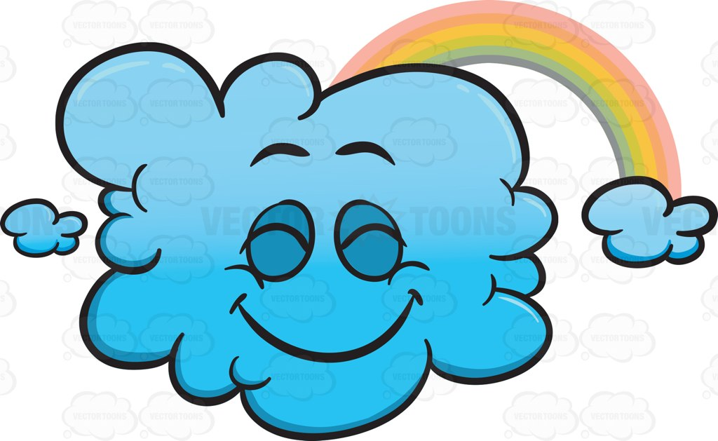 1024x629 Happy Cloud With A Rainbow Emoji Cartoon Clipart