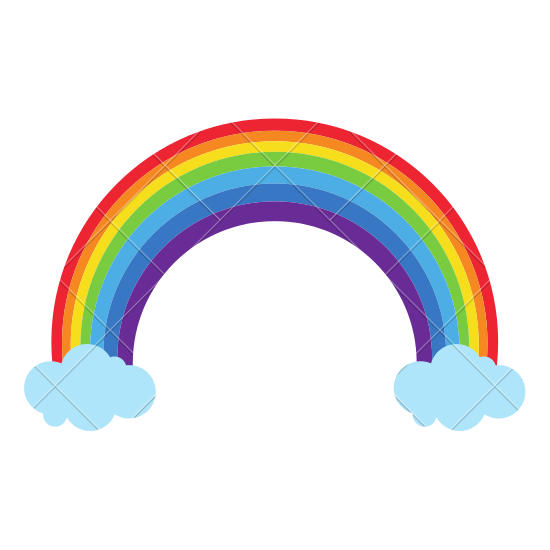 550x550 Rainbow with Clouds Vector