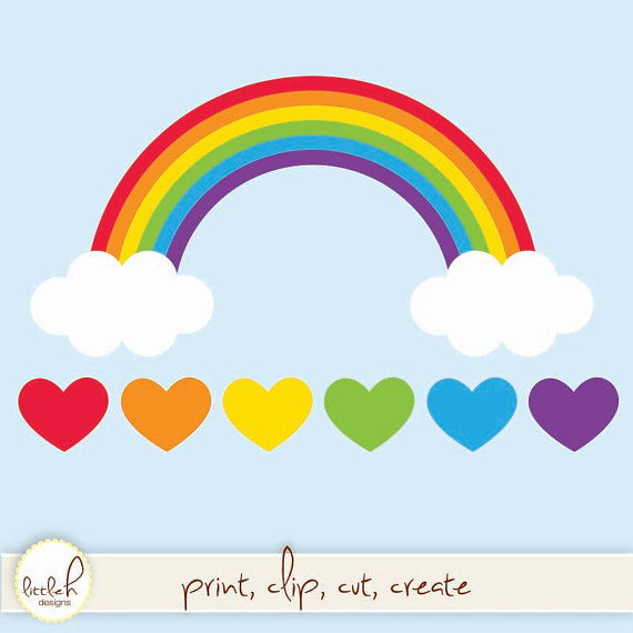 570x570 Rainbow with Clouds and Hearts Digital Clip Art Vector EPS