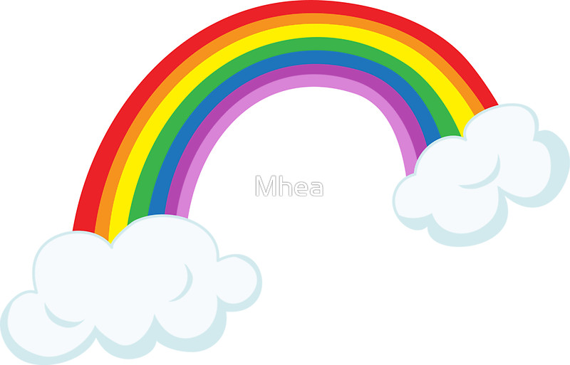 800x513 Rainbow with clouds sticker Stickers by Mhea Redbubble