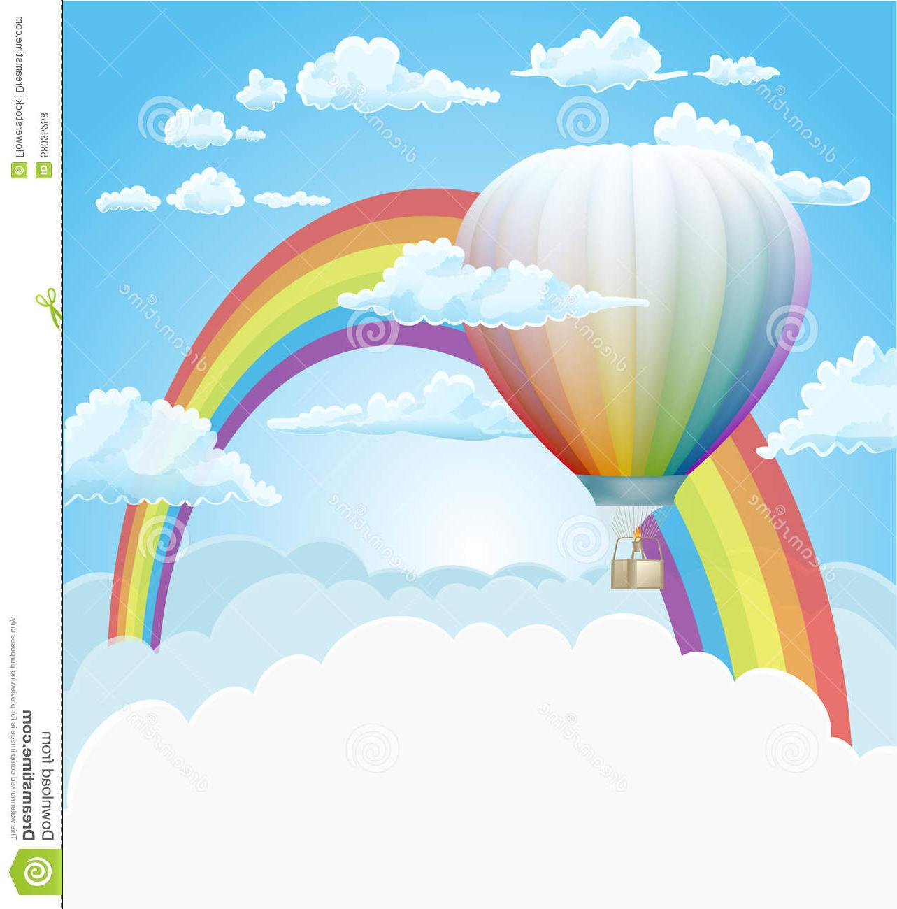 1283x1300 Best Free Hot Air Balloon Rainbow Clouds Vector Background Cdr