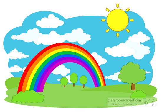 550x382 Weather rainbow trees sky clouds scene classroom clipart image