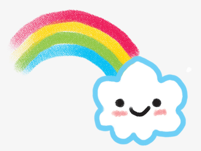 650x488 cartoon rainbow cloud, Clouds, Expression, Rainbow PNG Image for