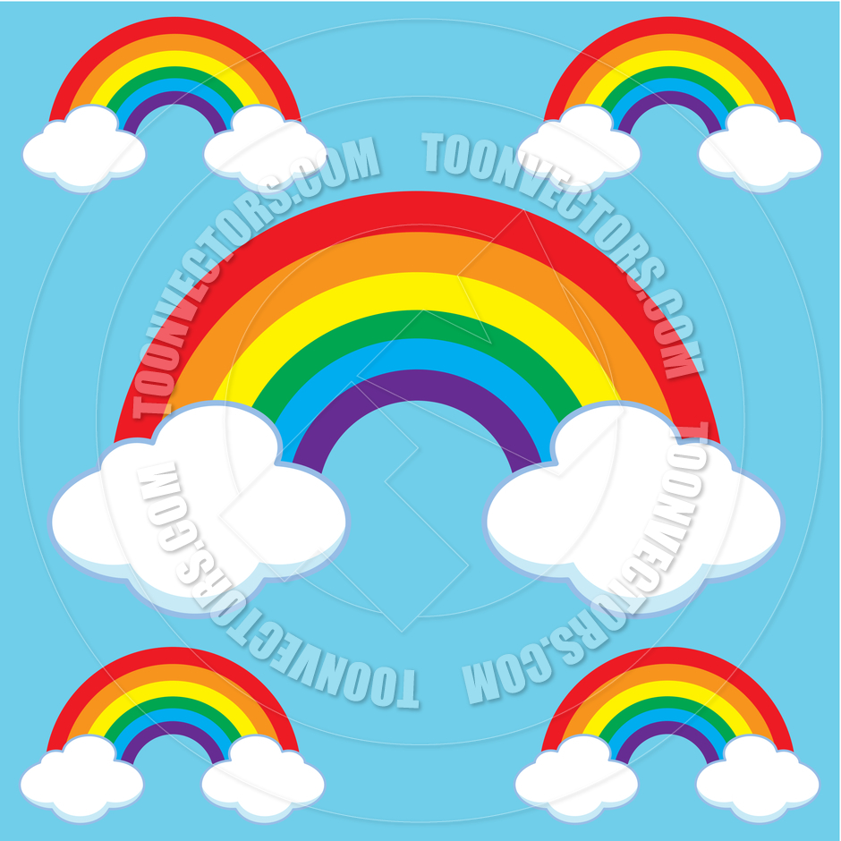 940x940 Cartoon Rainbows amp Clouds Set by robin 2D Toon Vectors EPS