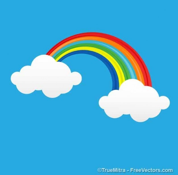 626x613 Cartoon rainbow with clouds Vector Free Download