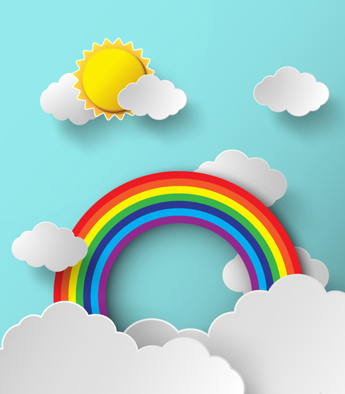 500x571 Cloud and rainbow background free vector download (44,544 Free