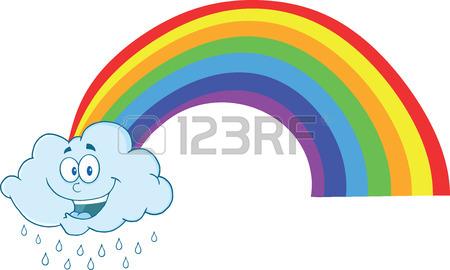 450x270 Happy Cloud Raining With Rainbow Royalty Free Cliparts, Vectors