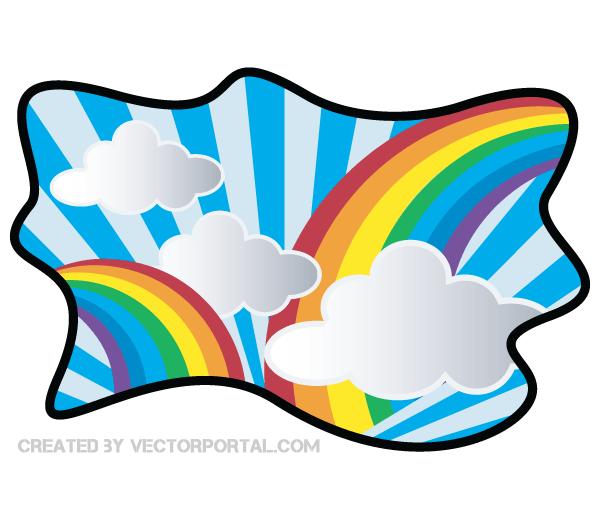 600x520 Rainbow With Cloud Clip Art 123freevectors