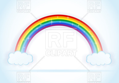 400x281 Rainbow with clouds Royalty Free Vector Clip Art Image