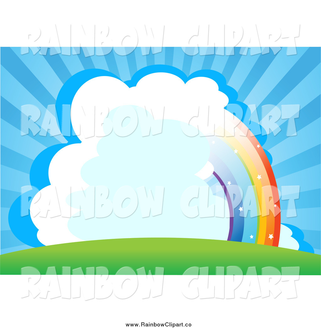 1024x1044 Vector Clip Art Of A Half Rainbow With Clouds In A Bursting Blue