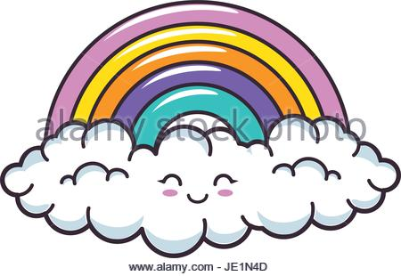 450x310 Kawaii Clouds And Rainbow Icon Stock Vector Art Amp Illustration