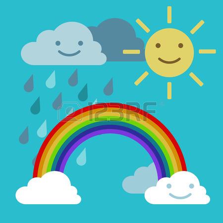 450x450 Arc Rainbow Sun And Rain Cloud Funny Smiling Royalty Free Cliparts