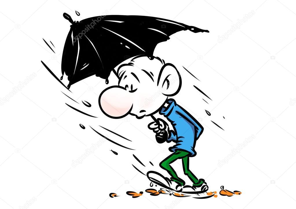 1023x723 Man Autumn Rain Umbrella Cartoon Stock Photo Efengai
