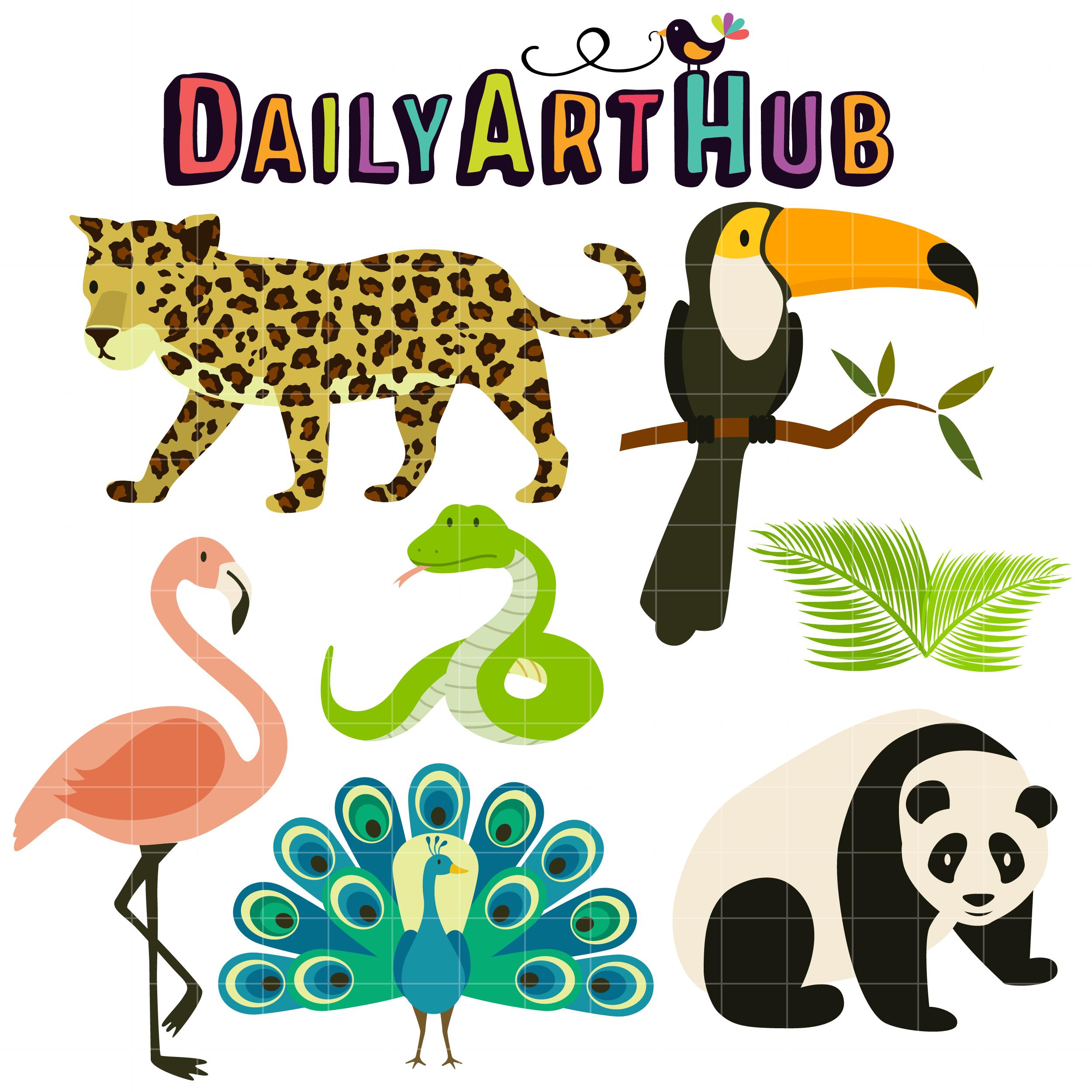 2500x2500 Tropical Rainforest Animals Clip Art Set Daily Art Hub