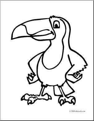 304x392 Clip Art Cartoon Toucan (Coloring Page) I Abcteach