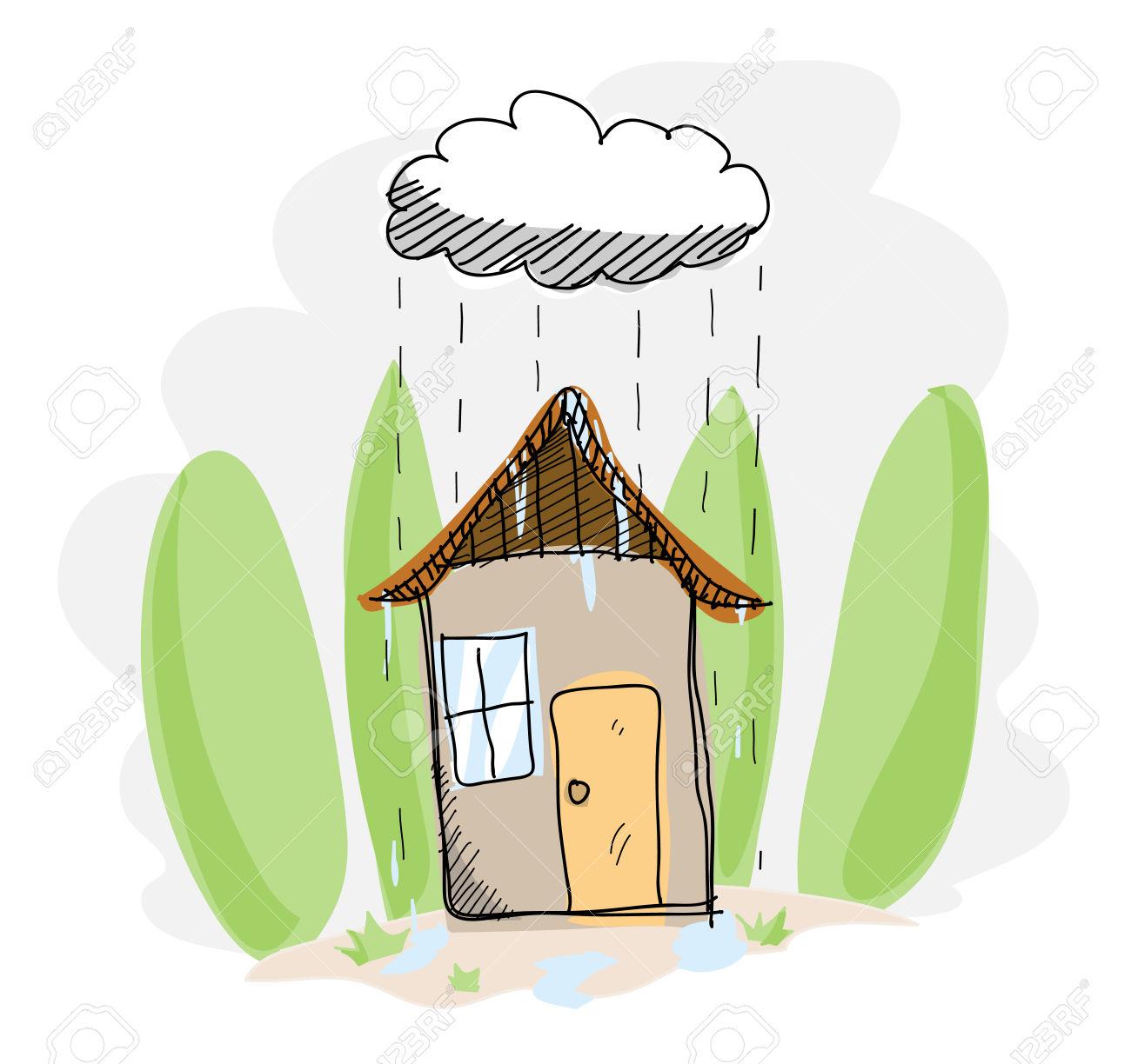 1300x1224 Hosue Clipart Raining