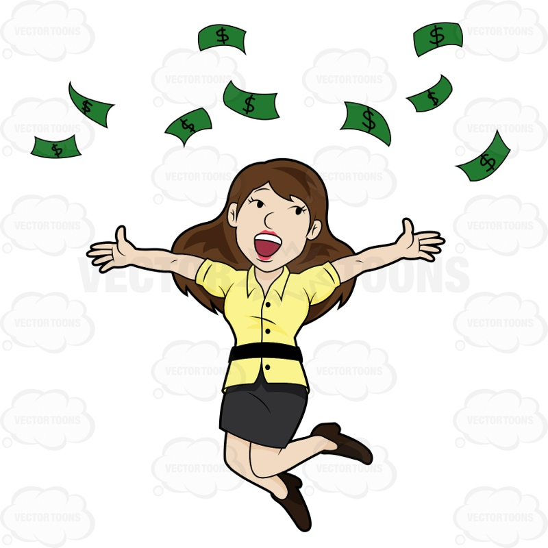 800x800 Delighted Woman Jumps And Throws Money Into Air Cartoon Clipart