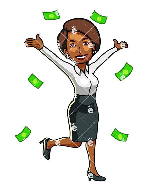 585x755 Money Raining Down Around A Black Business Woman